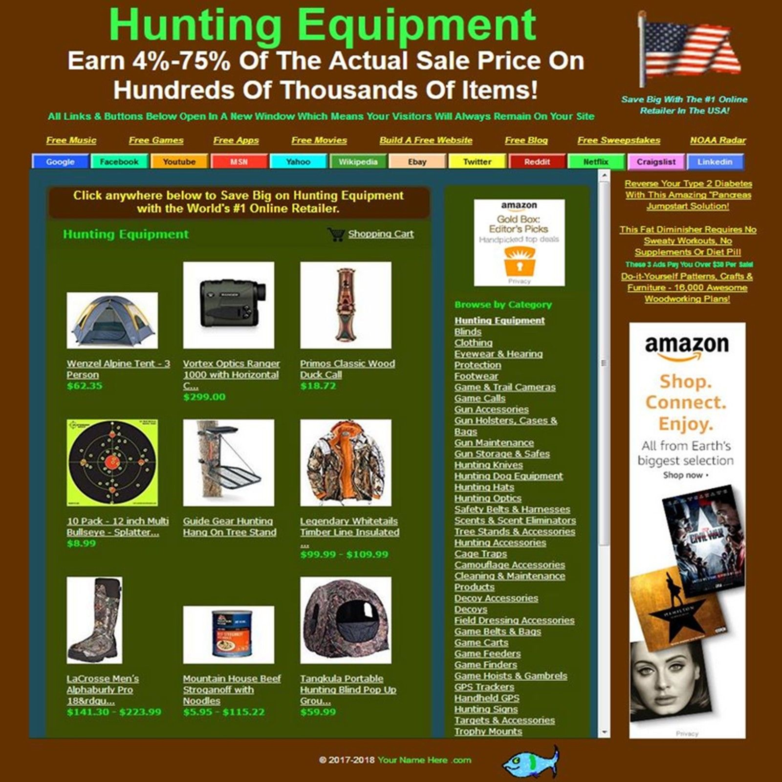 Hunting equipment affiliate online business website store for Online retailer for sale